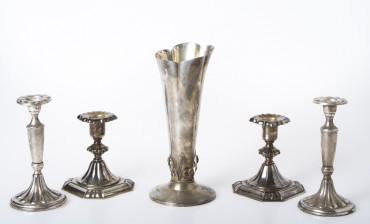 Kynttilänjalkapareja, 2 kpl ja maljakko