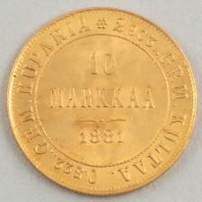 Kultaraha, Suomi 10 mk 1881