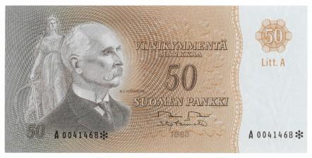Seteli, Suomi 50 mk 1963 LITT. A * (tähti)