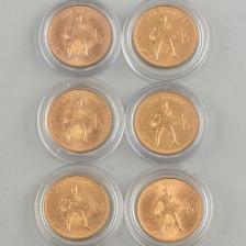Kultarahoja, 6 kpl Venäjä 10 ruplaa (chervonets) 1975-79