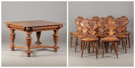 Ruokapöytä ja tuoleja 11 kpl
