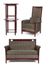Sohva, nojatuoli ja pöytiä, 2 kpl