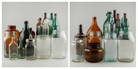 Erä talouslasia ja pulloja