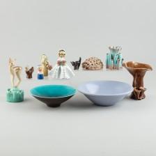 Figuriineja ym. keramiikkaa, 10 kpl