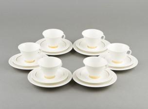 Kahvikuppeja, 6 kpl ja kakkulautasia, 6 kpl
