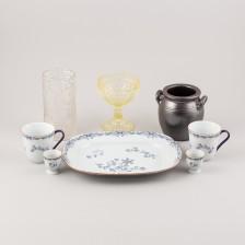 Erä keramiikkaa ja lasia, 8 kpl