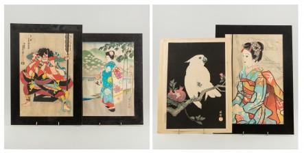 Puupiirroksia, 2 kpl, akvarelli ja litografia