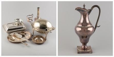 Erä hopeoituja esineitä