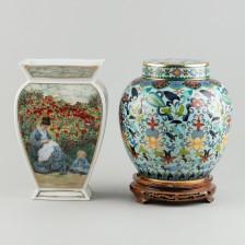 Cloisonné-uurna ja maljakko