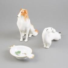 Figurineja 2kpl ja tuhkakuppi