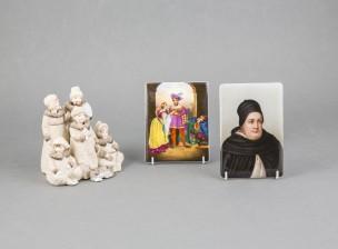 Figuriini ja posliinimaalauksia, 2 kpl