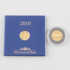 Kultarahoja, 2 kpl, Itävalta 10 € 2005 ja Ranska 100 € 2010