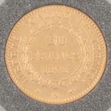 Kultaraha, Ranska 20 francs 1878 A