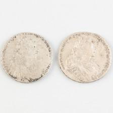 Hopearahoja 2 kpl, Venäjä, rupla 1728 & 1729