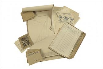 Purjepiirustuksia, 3 kpl sekä erä lomakkeita, kirjekuoria, kuitteja