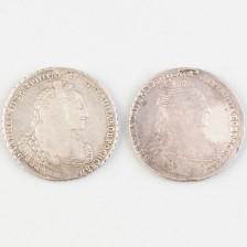 Hopearahoja 2 kpl, Venäjä rupla 1736