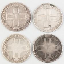 Hopearahoja, 4 kpl, Venäjä, rupla 1798-1800