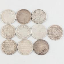 Hopearahoja, 10 kpl, Venäjä, rupla 1802-1813
