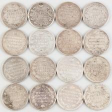 Hopearahoja, 16 kpl, Venäjä, rupla 1814-1825