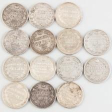 Hopearahoja, 14 kpl, Venäjä, rupla 1826-1843