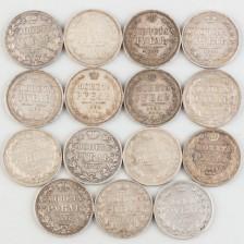 Hopearahoja, 15 kpl, Venäjä, rupla 1844-1856