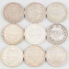 Hopearahoja, 9 kpl, Venäjä, rupla 1871-1880
