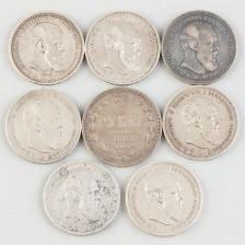 Hopearahoja, 8 kpl, Venäjä, rupla 1885-1894